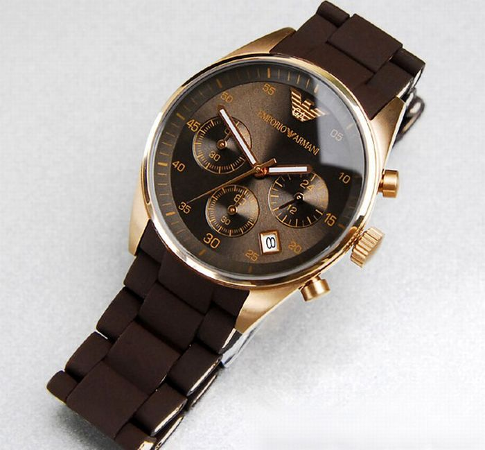 emporio armani herren uhr ar5890 chronograph braun neu ovp ebay. Black Bedroom Furniture Sets. Home Design Ideas