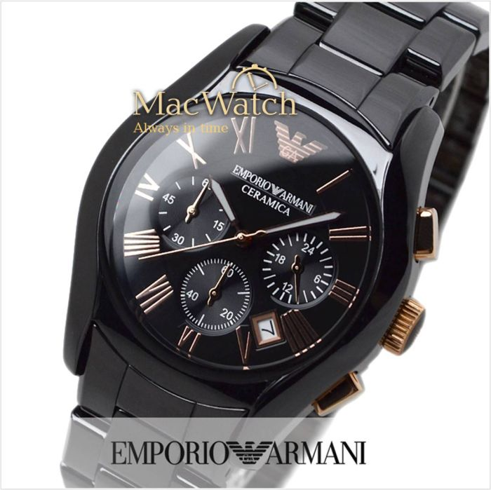 emporio armani ceramica herren uhr ar1410 keramik chrono. Black Bedroom Furniture Sets. Home Design Ideas