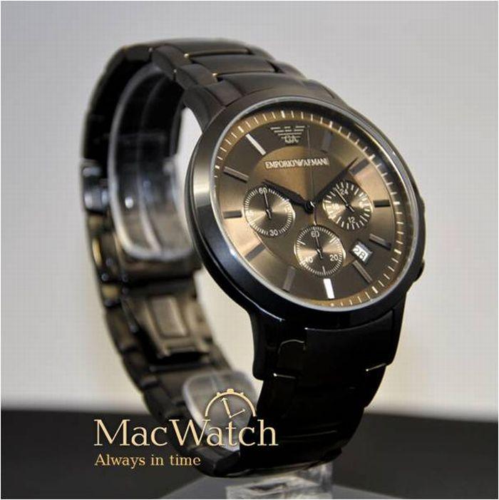 emporio armani herren uhr ar2453 schwarz edelstahl chronograph klassik neu ovp ebay. Black Bedroom Furniture Sets. Home Design Ideas